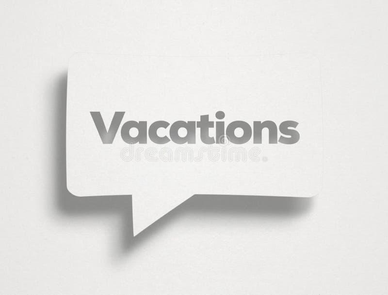 Burbuja de la charla y texto blancos de las vacaciones fotos de archivo