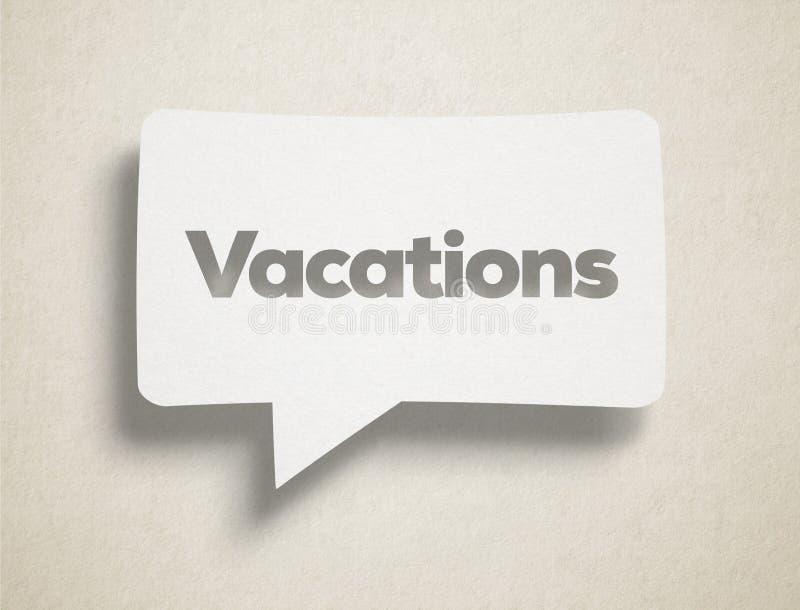 Burbuja de la charla y texto blancos de las vacaciones imagenes de archivo