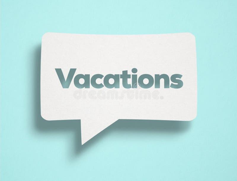 Burbuja de la charla y texto blancos de las vacaciones fotografía de archivo