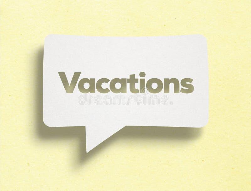 Burbuja de la charla y texto blancos de las vacaciones foto de archivo libre de regalías