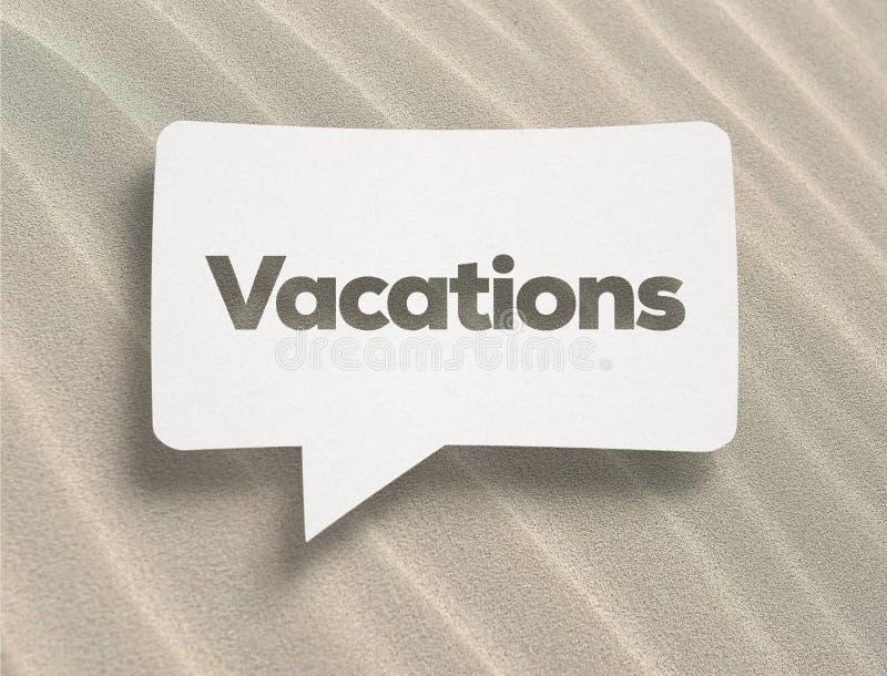 Burbuja de la charla y texto blancos de las vacaciones imagen de archivo