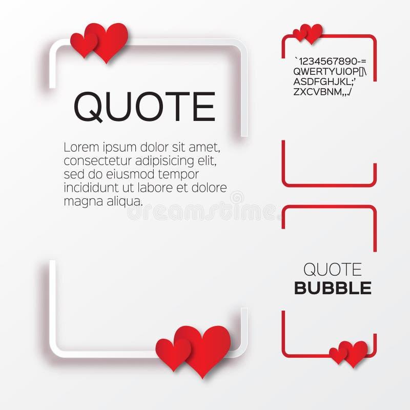 Burbuja de la cita con los corazones Burbuja del discurso de la tarjeta del día de San Valentín ilustración del vector