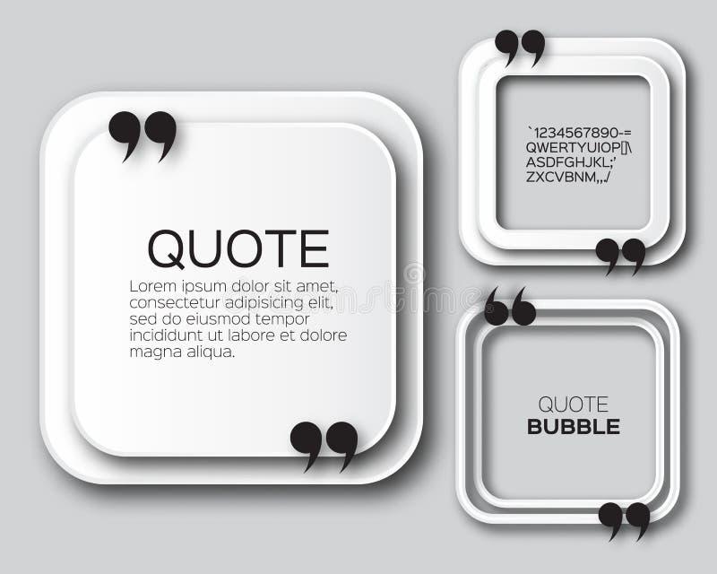 Burbuja de la cita del cuadrado de la papiroflexia ilustración del vector