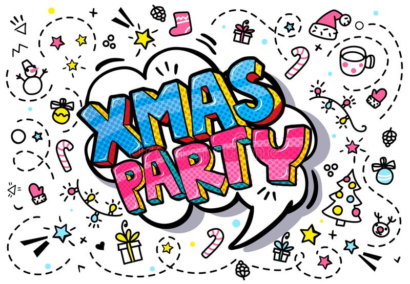Burbuja de la palabra del partido de Navidad stock de ilustración