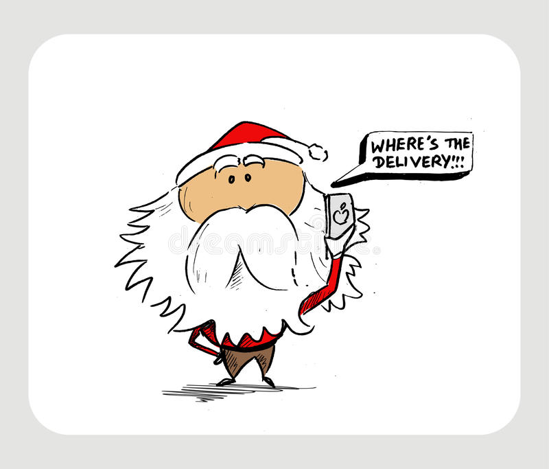 Burbuja de pensamiento de Santa Claus Cartoon Character - donde ` s la tienda de delicatessen ilustración del vector