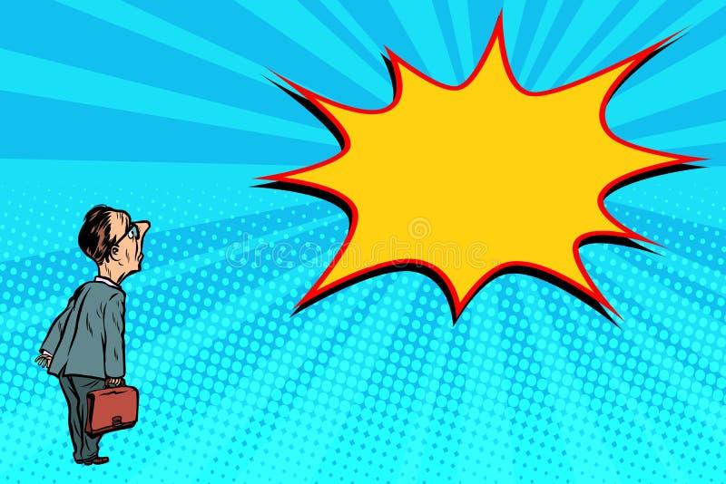Burbuja del arte pop del hombre de negocios y del cómic stock de ilustración