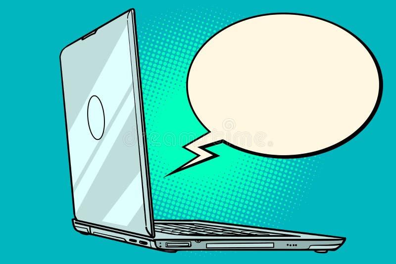 Burbuja del cómic del ordenador portátil libre illustration