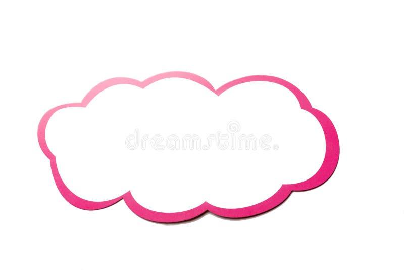 Burbuja del discurso como nube con la frontera rosada aislada en el fondo blanco Copie el espacio ilustración del vector