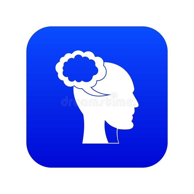 Burbuja del discurso con el azul digital principal humano del icono libre illustration