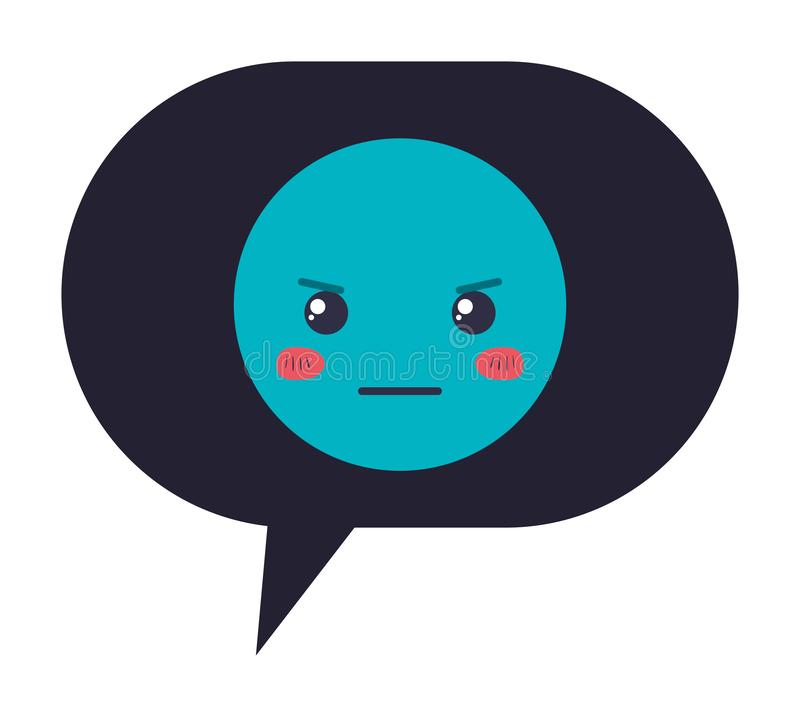 Burbuja del discurso con el carácter enojado del kawaii del emoji libre illustration