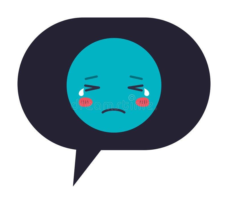 Burbuja del discurso con el carácter gritador del kawaii del emoji ilustración del vector
