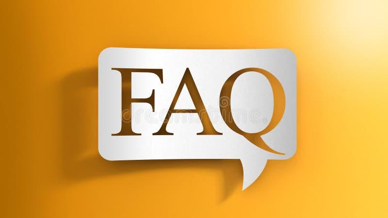 Burbuja del discurso con el FAQ stock de ilustración