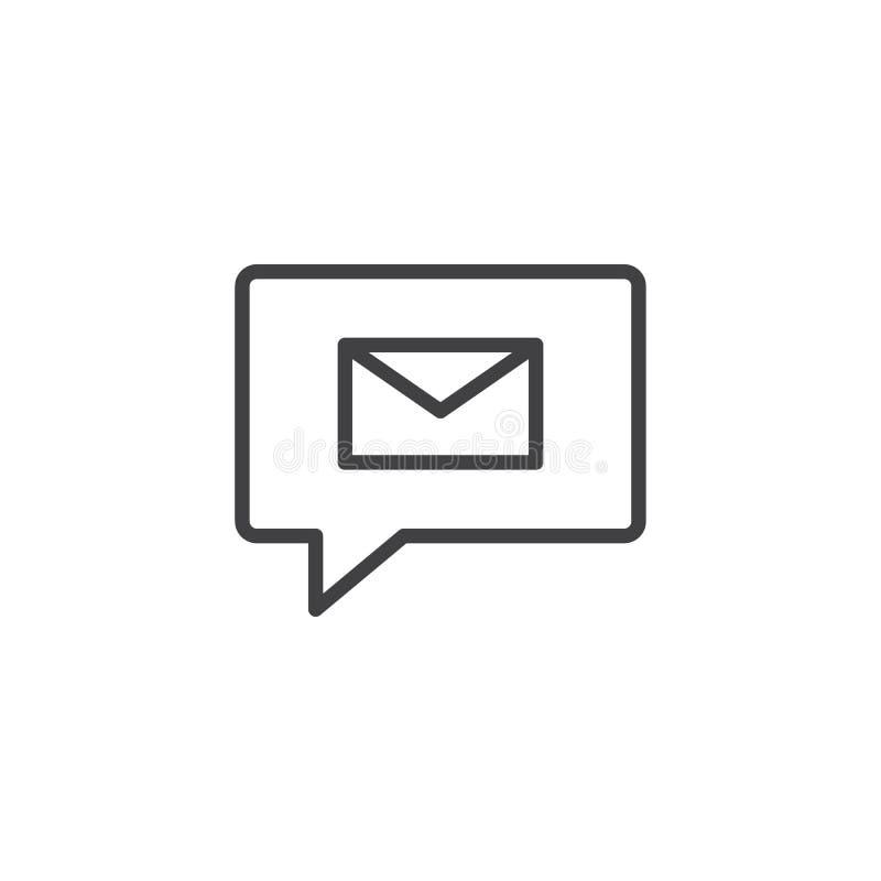 Burbuja del discurso con el icono del esquema del sobre stock de ilustración