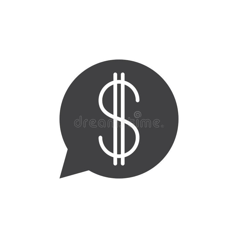 Burbuja del discurso con el vector del icono de la muestra de dólar, símbolo plano llenado, ilustración del vector