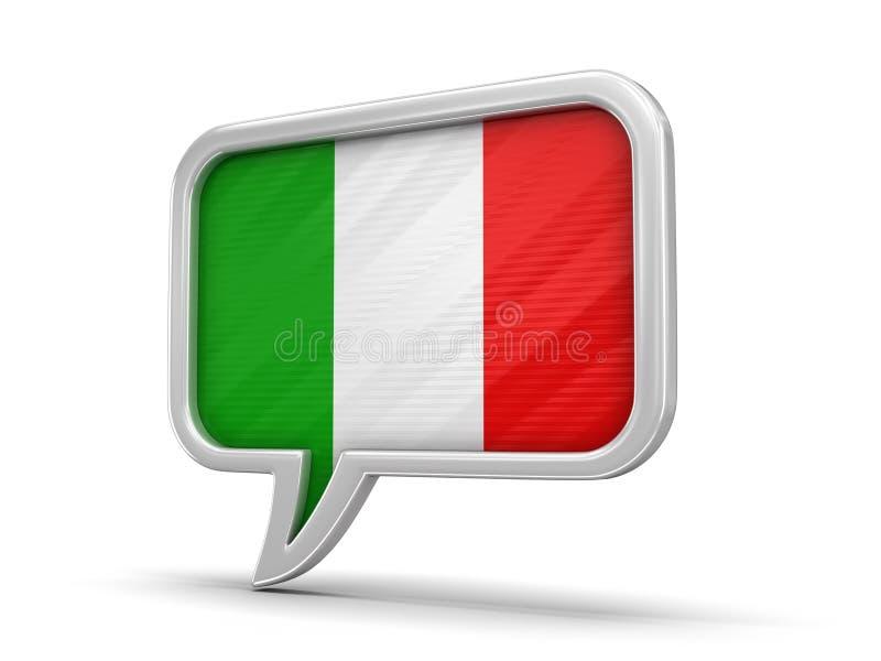 Burbuja del discurso con la bandera italiana stock de ilustración
