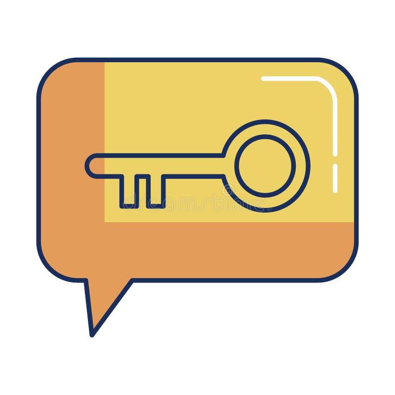 Burbuja del discurso con la puerta dominante retra ilustración del vector