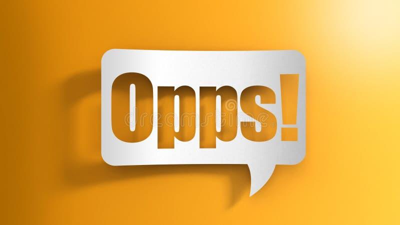 Burbuja del discurso con Oops stock de ilustración
