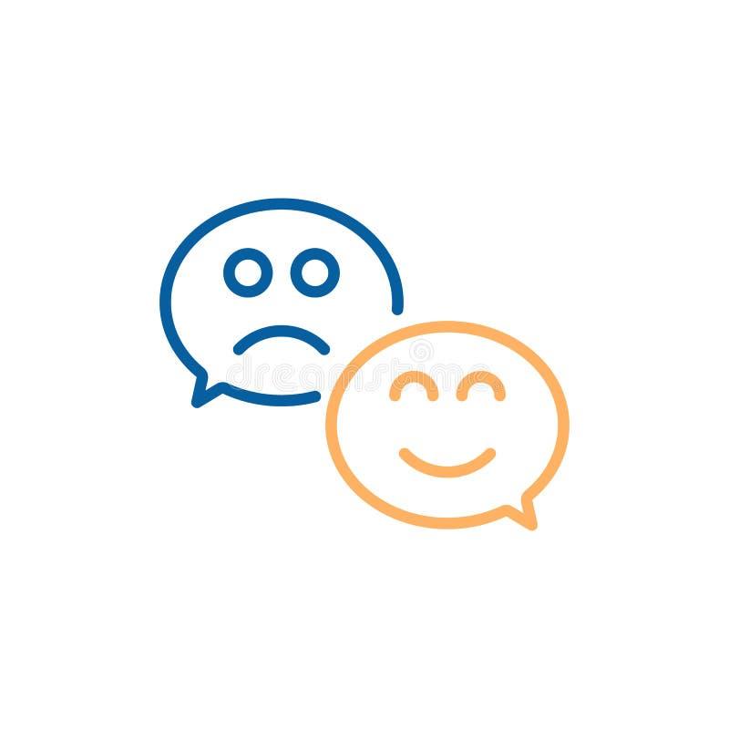 Burbuja del discurso con sonrisa feliz y la cara triste Línea fina diseño del vector del ejemplo del icono por satisfacción del c ilustración del vector