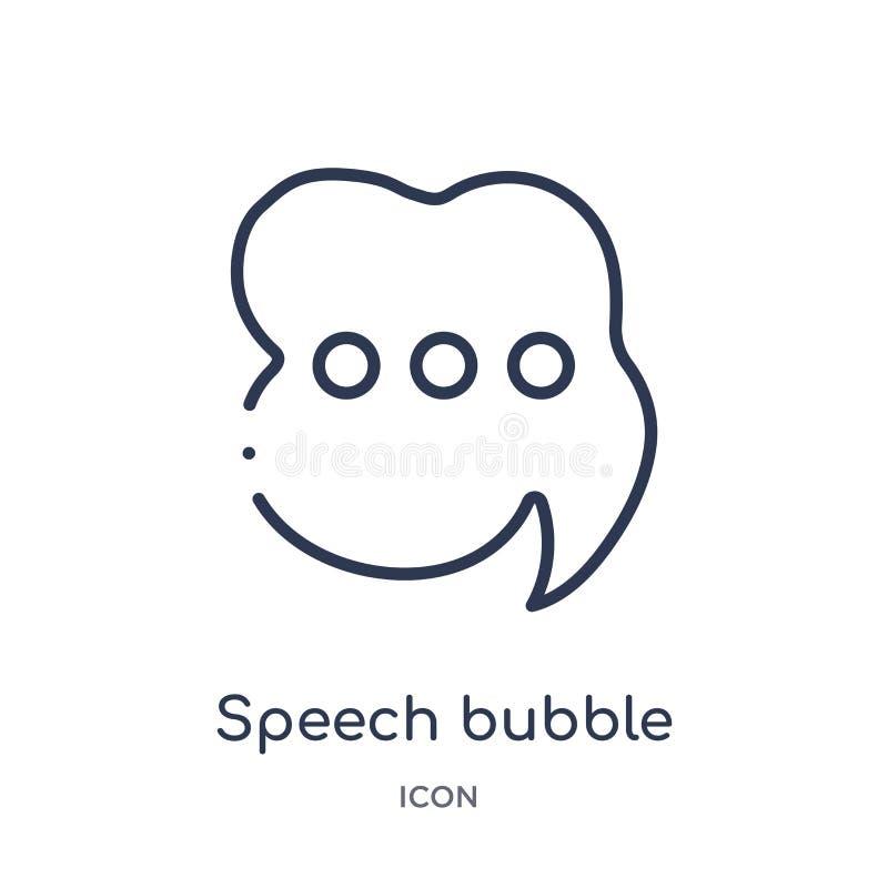 burbuja del discurso con tres puntos dentro del icono de la colección del esquema de la interfaz de usuario Línea fina burbuja de stock de ilustración