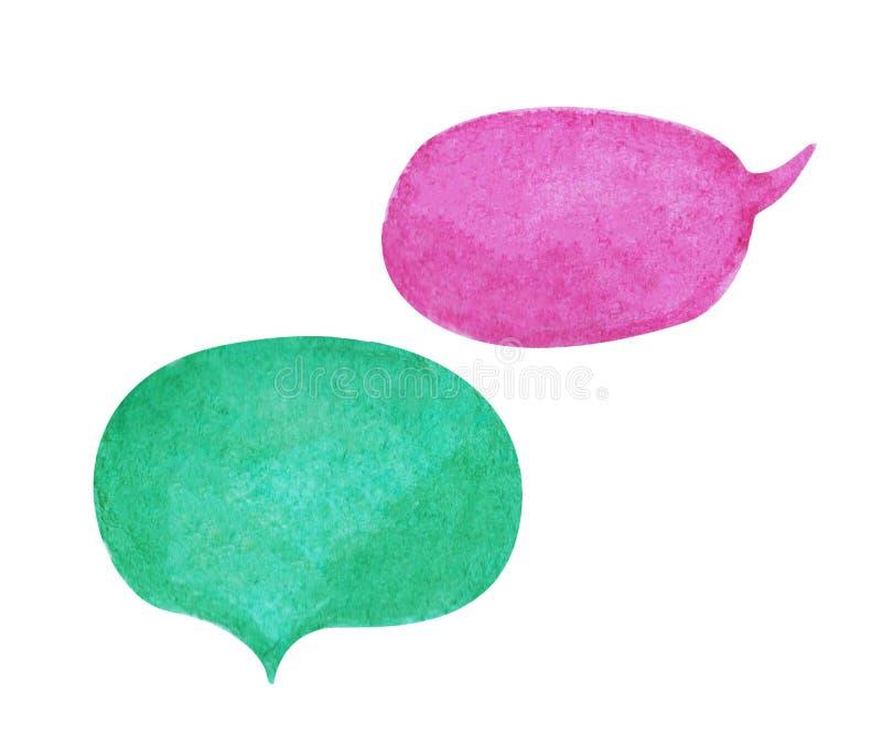 Burbuja del discurso de la acuarela en el fondo blanco La burbuja verde del texto de la violeta y del trullo se nubla el elemento stock de ilustración