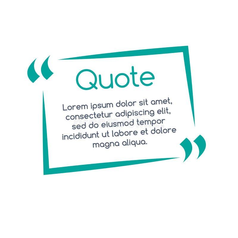 Burbuja del discurso de la cita, plantilla, texto en soportes, marco de la citación, caja de la cita Ilustración del vector stock de ilustración