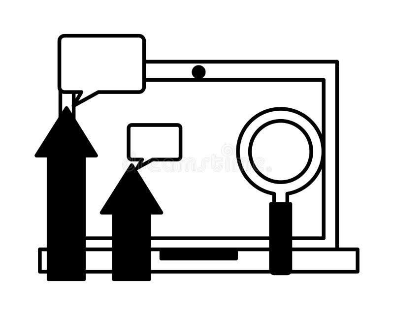 Burbuja del discurso de la lupa de las flechas del ordenador portátil libre illustration