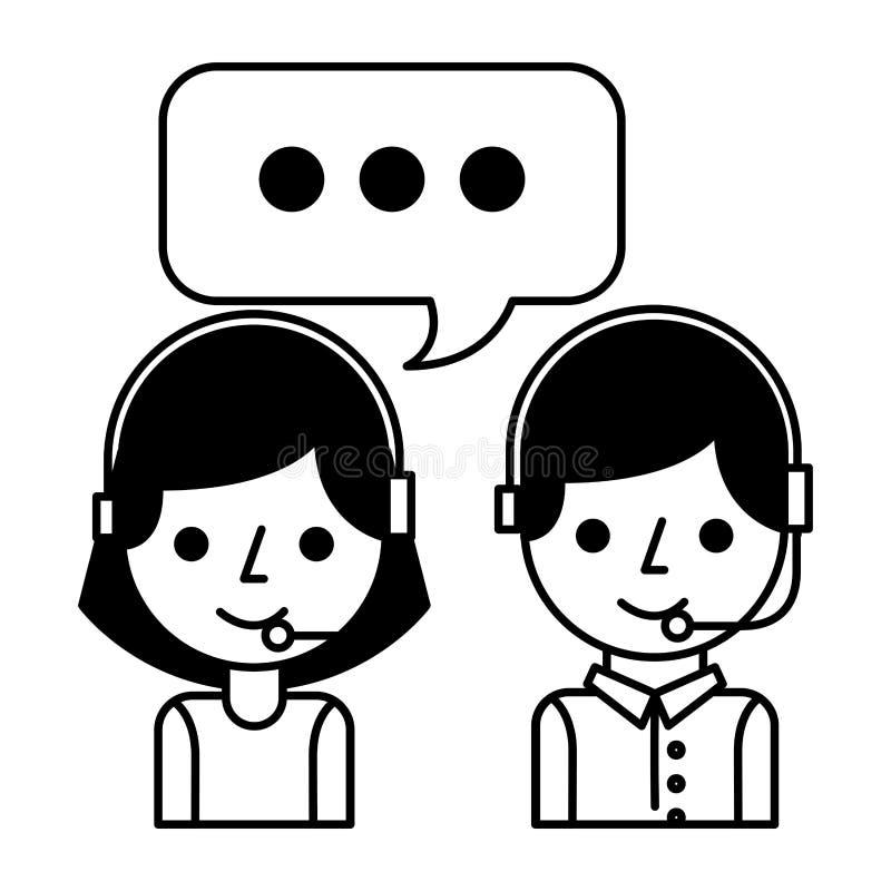 Burbuja del discurso de la muchacha y del muchacho del centro de atenci?n telef?nica stock de ilustración