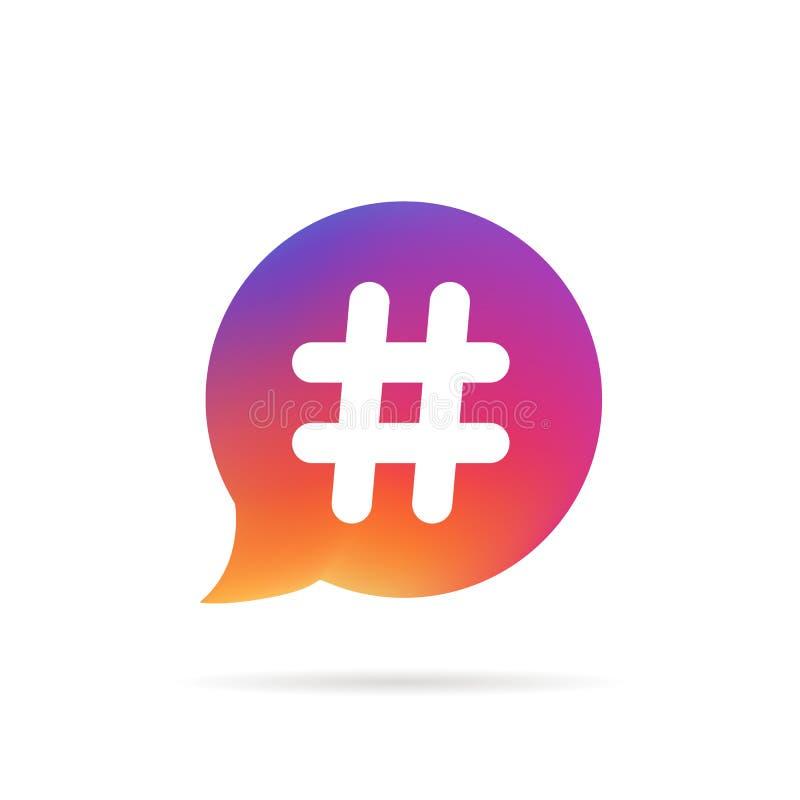 Burbuja del discurso de la pendiente con el logotipo popular del hashtag stock de ilustración