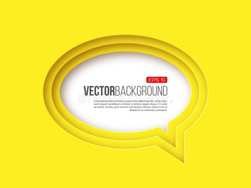 burbuja del discurso de la ronda de papel 3d, color amarillo stock de ilustración