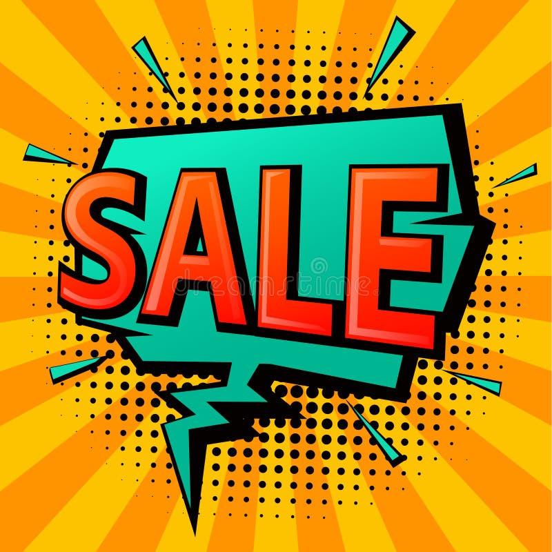 Burbuja del discurso de la venta de las compras del estilo del arte pop del cómic ilustración del vector