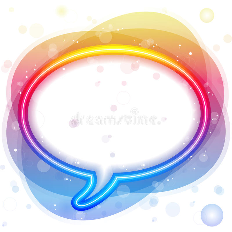 Burbuja del discurso de las luces de neón del arco iris stock de ilustración