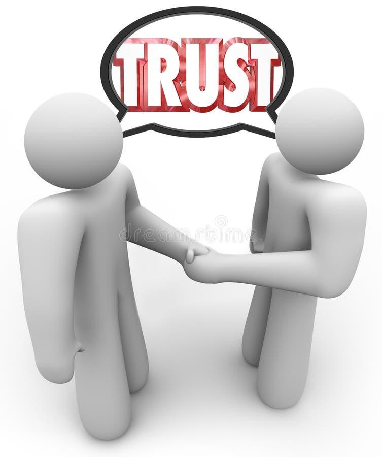 Burbuja del discurso del apretón de manos de las personas de la palabra dos de la confianza stock de ilustración