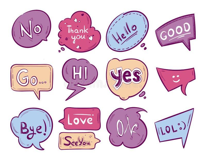 Burbuja del discurso del garabato del bosquejo del vector con frases de la comunicación libre illustration