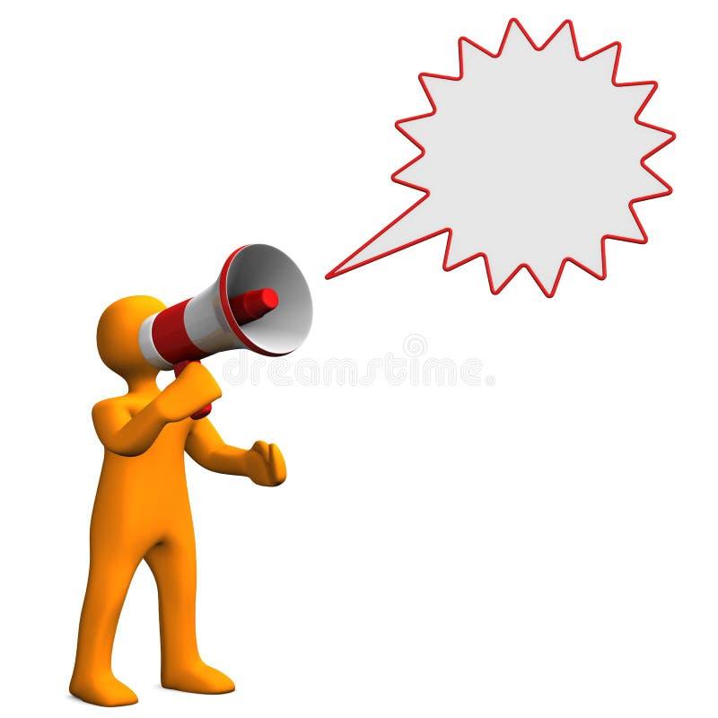 Burbuja del discurso del megáfono del maniquí stock de ilustración