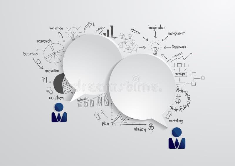 Burbuja del discurso del vector con el strateg del negocio del dibujo ilustración del vector