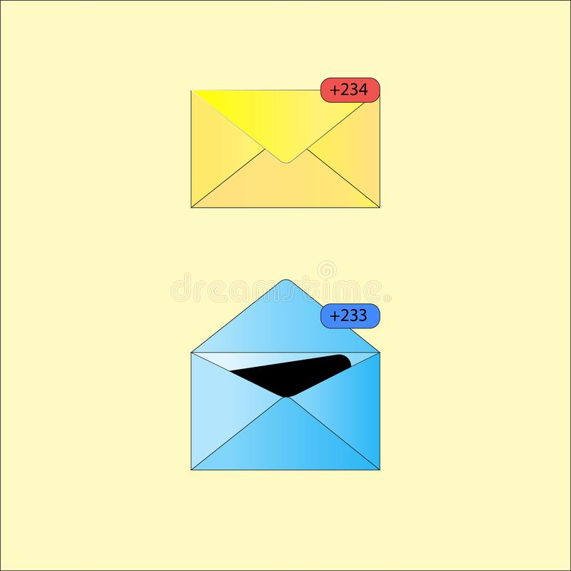 Burbuja del discurso del icono de la notificación en carta abierta stock de ilustración
