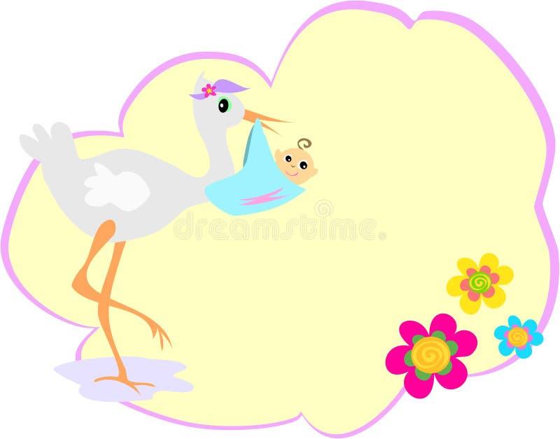 Burbuja Del Mensaje Con La Cigüeña Y El Bebé