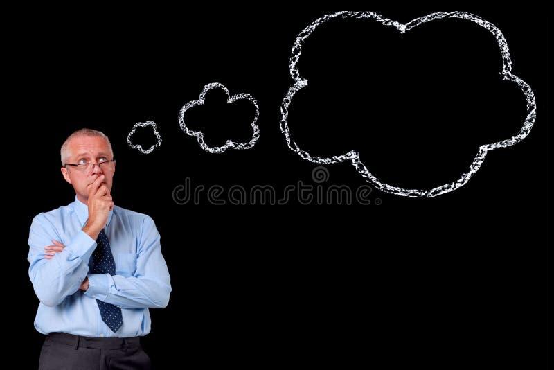 Burbuja del pensamiento de la tiza del hombre de negocios fotos de archivo libres de regalías