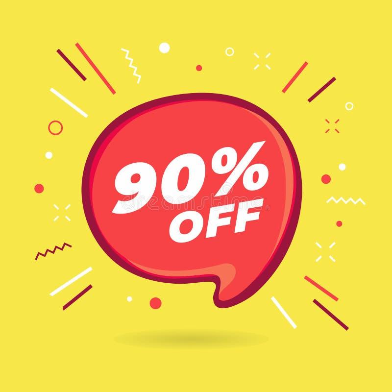Burbuja del rojo de la venta de la oferta especial El 90% de etiqueta engomada del descuento libre illustration