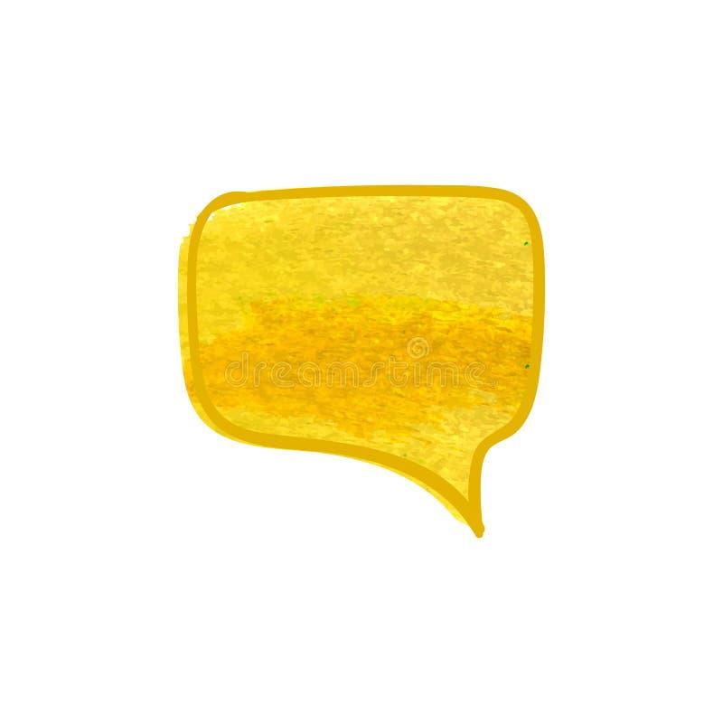 Burbuja dibujada mano de la charla del vector, pintura seca amarilla, dibujo de tiza aislado libre illustration