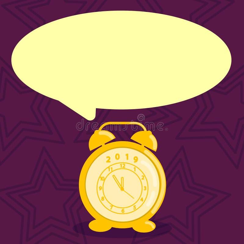 Burbuja en blanco del discurso de la forma redonda y despertador análogo en sombra en colores pastel Reloj de Pale Color Text Bal stock de ilustración