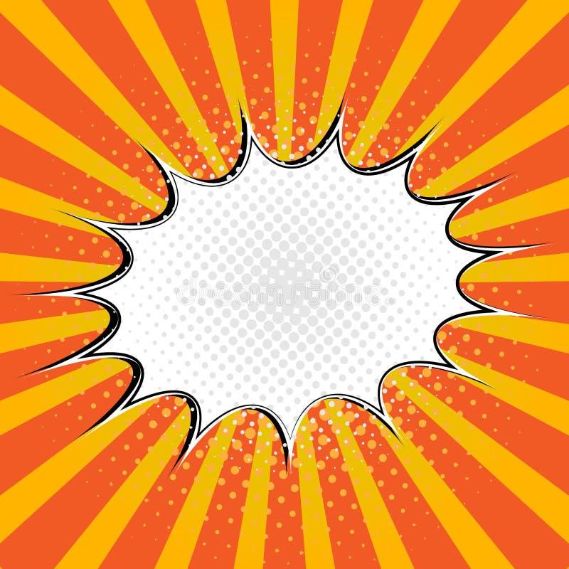 Burbuja en blanco del discurso de la historieta en estilo del arte pop en fondo de la explosión stock de ilustración