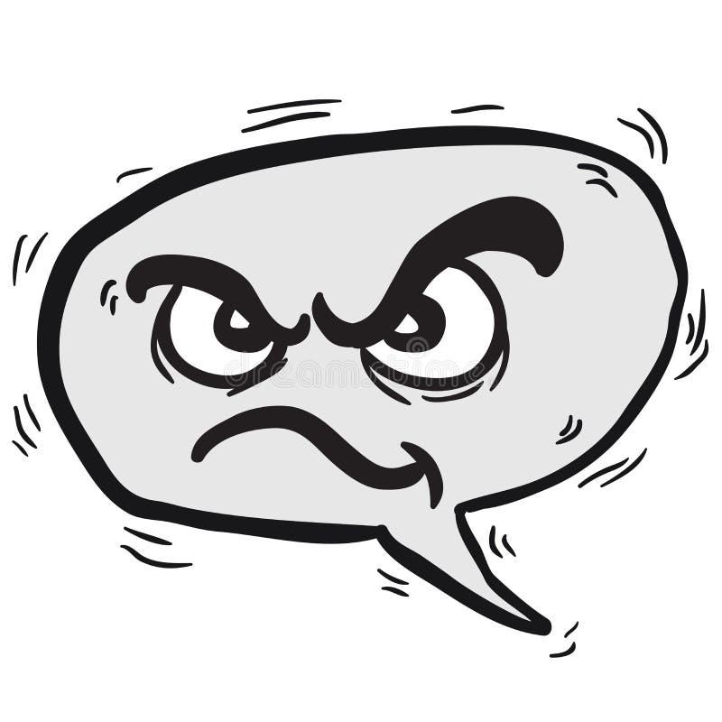 Burbuja enojada blanco y negro del discurso ilustración del vector