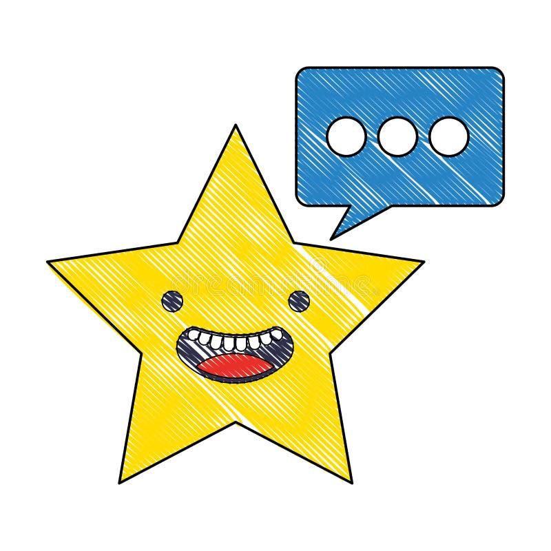 Burbuja feliz del discurso de la historieta de la estrella de Kawaii ilustración del vector