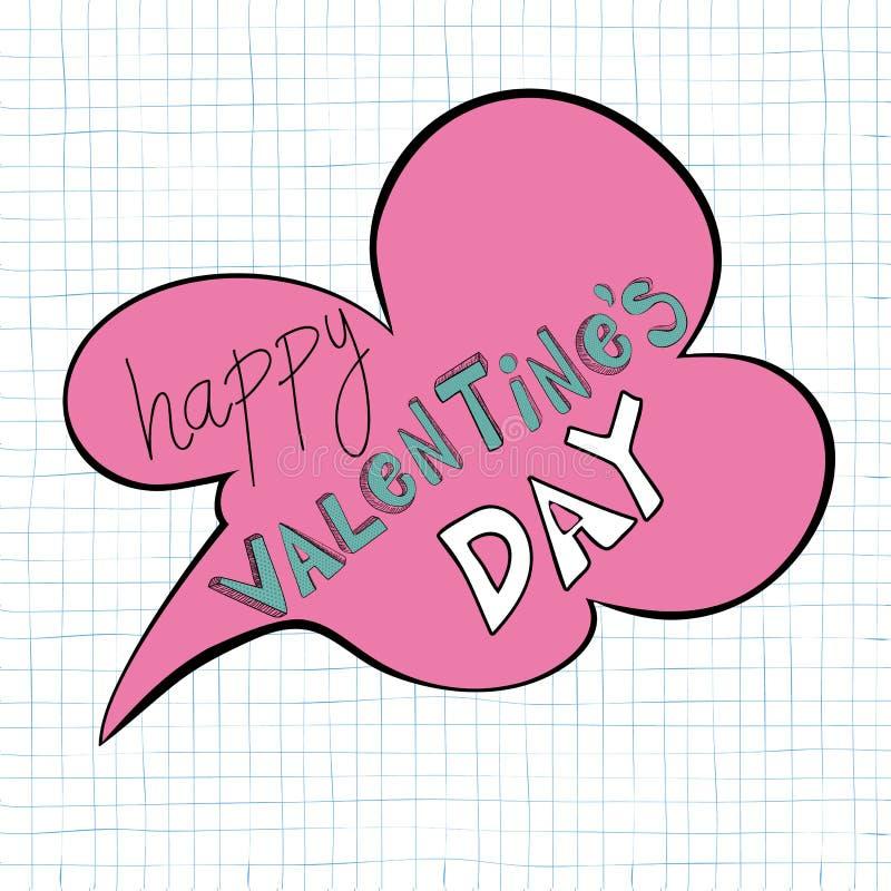 Burbuja feliz del discurso del día de tarjetas del día de San Valentín libre illustration