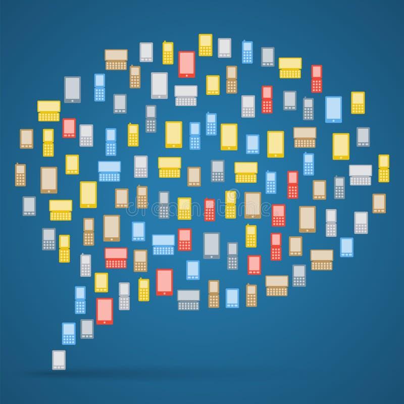 Burbuja hecha de los teléfonos coloridos de los iconos ilustración del vector