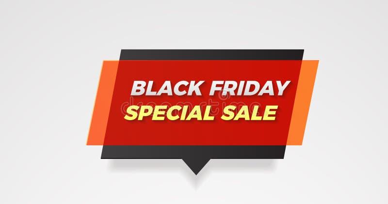 Burbuja negra del discurso de la bandera de la venta especial de viernes con efecto plástico Ilustración del vector stock de ilustración