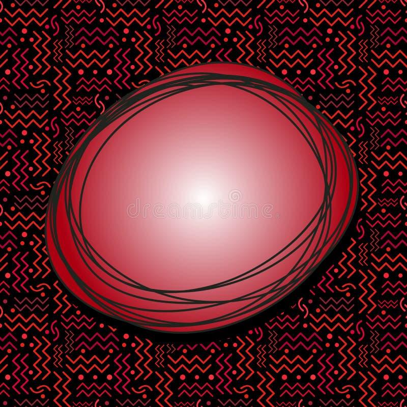 Burbuja roja enrrollada del discurso con Memphis Pattern en negro stock de ilustración