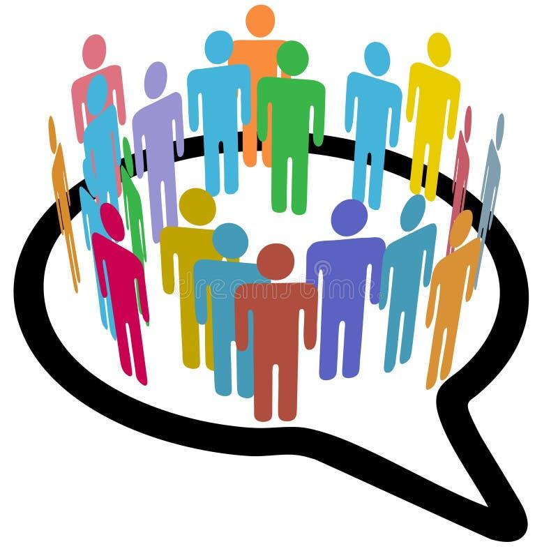 Burbuja social del discurso del círculo íntimo de la gente de los media ilustración del vector