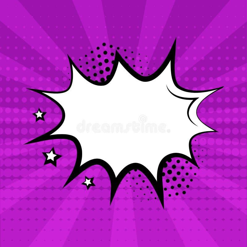 Burbuja vacía blanca del discurso con las estrellas y sombra de semitono en fondo púrpura Efectos sonoros c?micos en estilo del a ilustración del vector